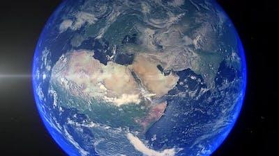 Realistic Earth Zoom Out Clouds Saudi Arabia Medina