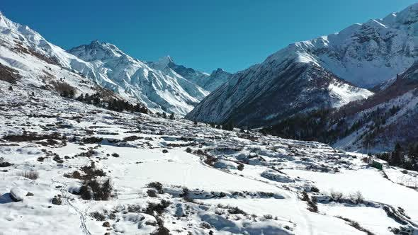 Thumbnail for Aerial View of Beautiful Landscapes of Himachal Pradesh During Winters , Chitkul