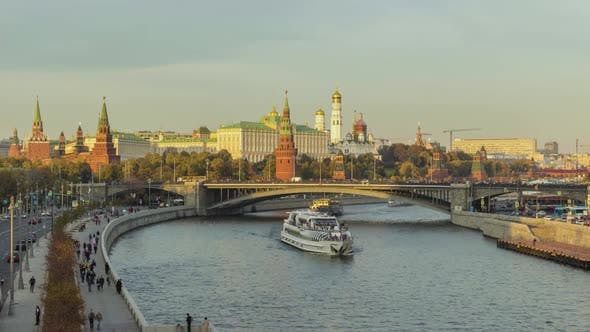 Cover Image for Moscow City Kremlin and River at Sunny Summer Day. Russia