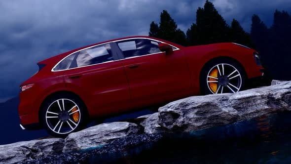 Thumbnail for Red Luxury Off-Road Vehicle Standing on Rocks in the Evening