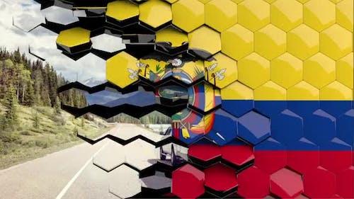 Ecuador Flag Hexagon Transition - 4K Resolution