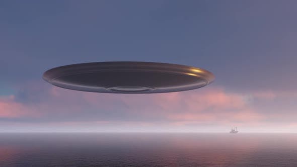 Thumbnail for 3d Render Ufo Above the Ocean