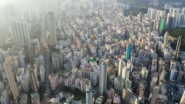 Drohne fliegen über Hong Kong