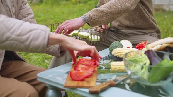 At a Picnic in the Park, a Man Puts Zucchini on the Grill, a Woman Puts a Tomato on a Plate in Slow