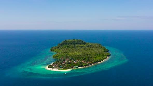 Turquoise Lagoon and Sandbar, Top View. Himokilan Island, Leyte Island, Philippines.
