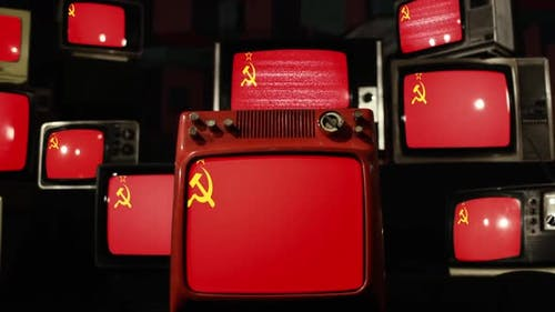 Old Soviet Union flag and Retro Televisions.