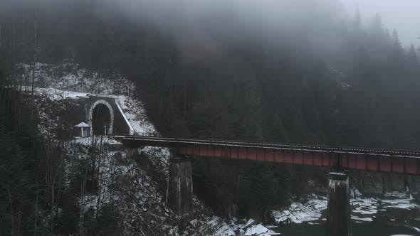 Reinforced Concrete Bridge Over The Prut Waterfall In The Carpathians