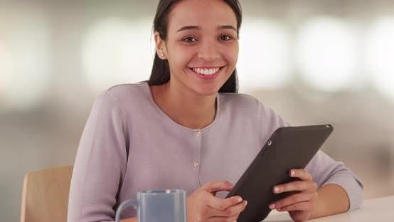Thumbnail for Hispanic bible student smiling with tablet