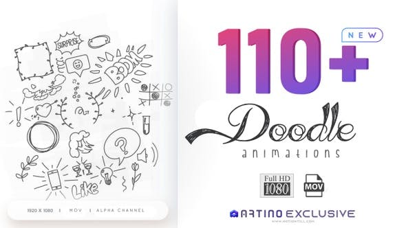 Thumbnail for 110 Animated Doodle Pack