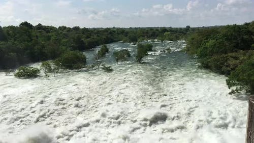 Udawalawe Dam with all four spillways open