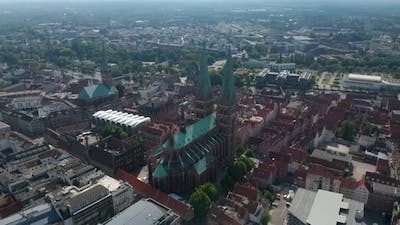 Aerial Panoramic Footage of Historic Part of Town