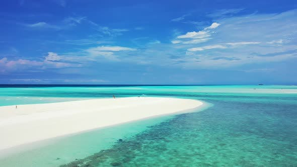 Thumbnail for Beautiful above clean view of a paradise sunny white sand beach and turquoise sea background in 4K
