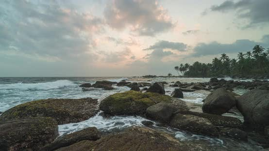 Thumbnail for Timelapse View of Palm Trees and Indian Ocean Coastline During Sunrise. Island Sri Lanka