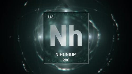 Nihonium as Element 113 of the Periodic Table on Green Background