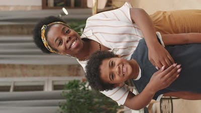 Portrait Of Afro Woman With Cute Son