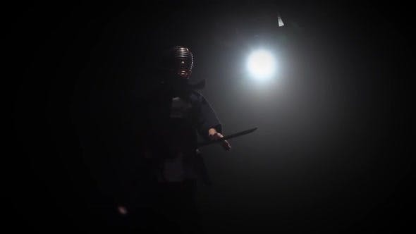 Thumbnail for Kendo Warrior Is Practicing Martial Art with the Katana Sword. Slow Motion