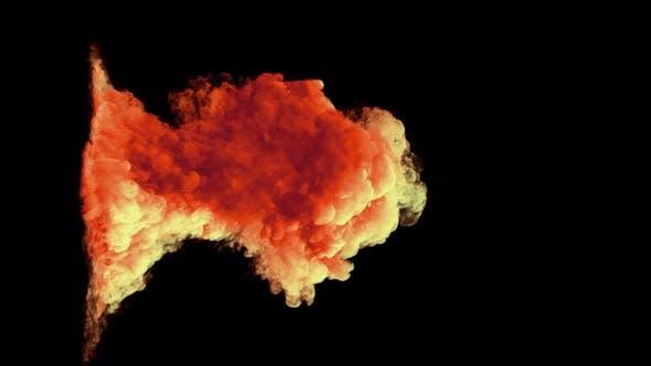 Volcanic Eruption Dense Smoke Red