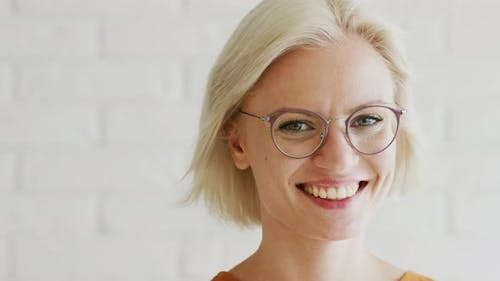 Cheerful Lady with Short Hair