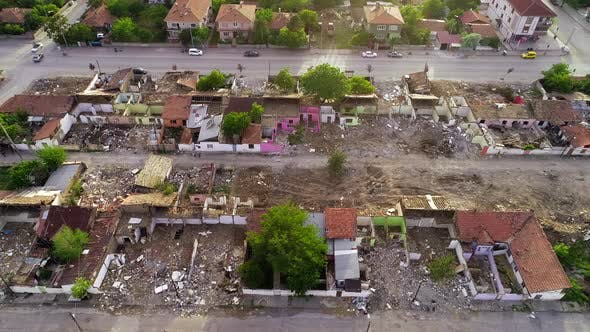 Aerial View Destroyed Houses
