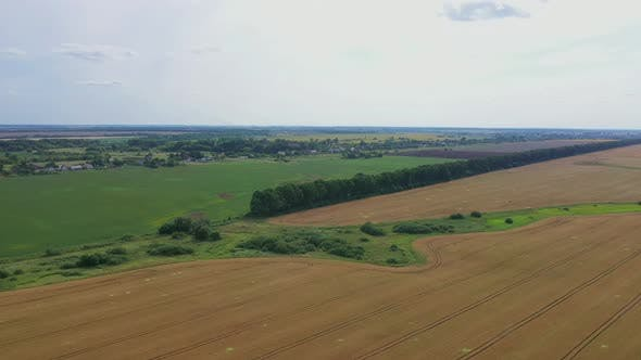 Thumbnail for Aerial View Field Near A Small Village