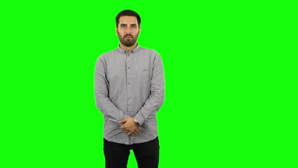 Thumbnail for Brunette Guy Looking Straight. Green Screen