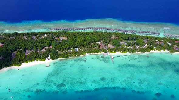 Thumbnail for Drone travel of seashore beach by sea with sand background