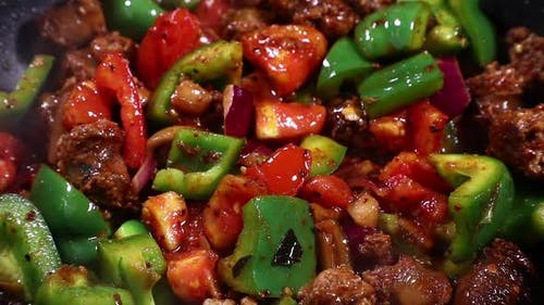 Pork Sausage And Vegetables Frying