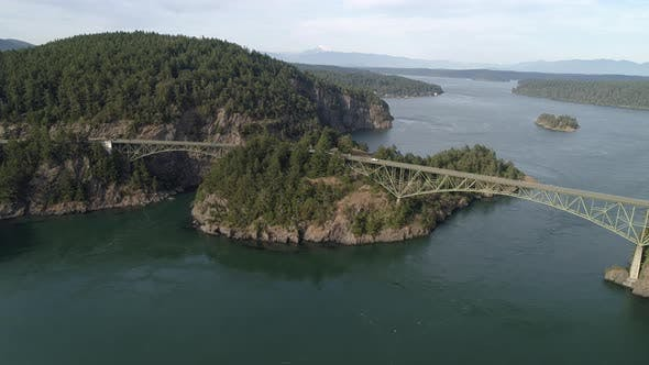 Thumbnail for Aerial Of Pacific Northwest Landmark Deception Pass Bridge Over Puget Sound In Washington