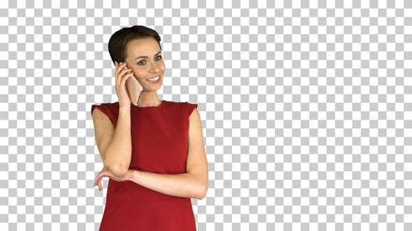 Thumbnail for Cute pretty lady talking on mobile phone, Alpha Channel