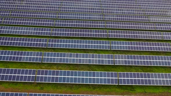 Cover Image for Aerial Footage of Hundreds Solar Energy Modules or Panels Rows