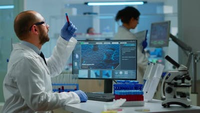 Researcher Working in Laboratory Research and Experiment Corona Disease Sample