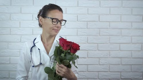Medical Worker with Flowers