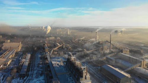 Aerial View of a Heavy Industry District Ecology and Heavy Industry Concept
