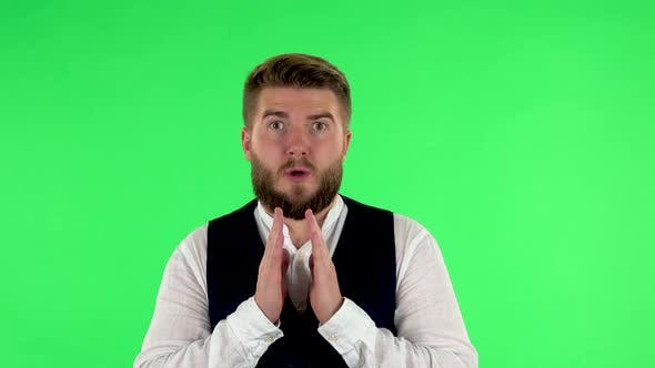 Surprised Man with Shocked Face Expression. Green Screen