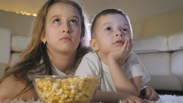 Cute Little Kids While Watching TV