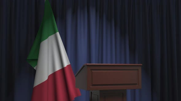 Flag of Italy and Speaker Podium Tribune