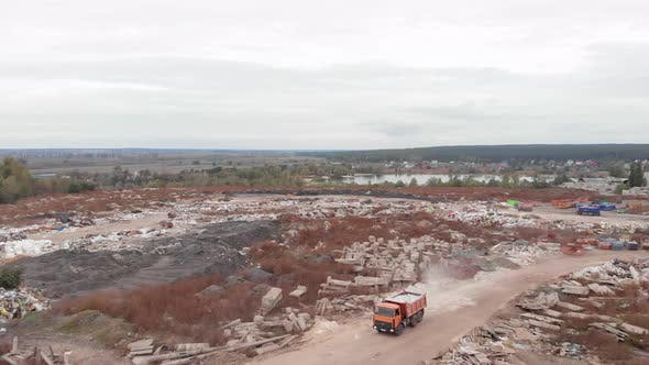 Thumbnail for Truck is delivering construction waste to big garbage dump