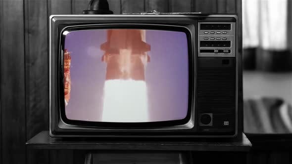 Thumbnail for Apollo 11 Launch On a Retro TV. Black and White Tone.