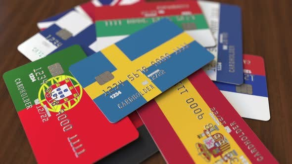 Thumbnail for Emphasized Bank Card with Flag of Sweden