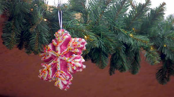 Thumbnail for Large Pink Snowflake with Colorful Sequins Hanging on Garland Decorating House