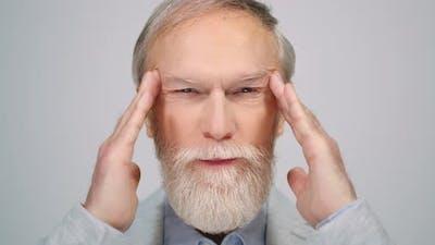 Old Man Thinking in Studio
