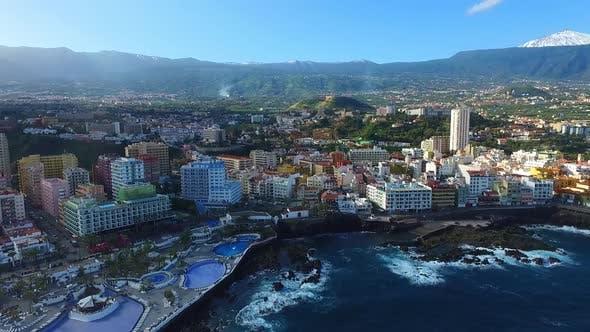 Aerial drone clip of Puerto de la Cruz city 71 Full Hd