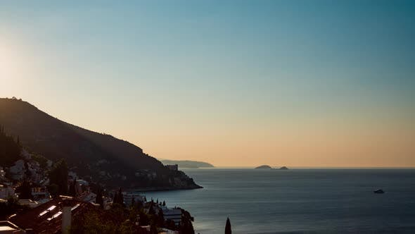 Thumbnail for Sunny Time-lapse Sunrise along Adriatic Coast, Mediterranean Sea