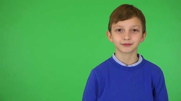 Thumbnail for A Young Cute Boy Smiles at the Camera - Green Screen Studio