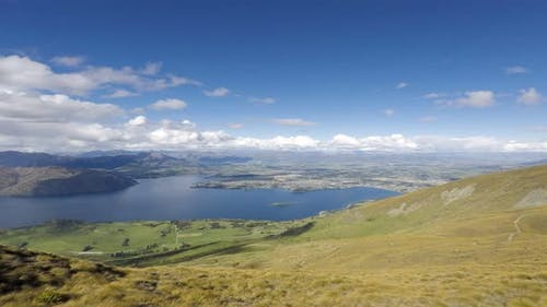 Timelapse Wanaka Town view from Roys Peak.