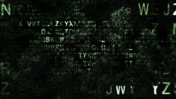 Thumbnail for Animated Green Upper Case Hexadecimal Code Fragments on Black Background