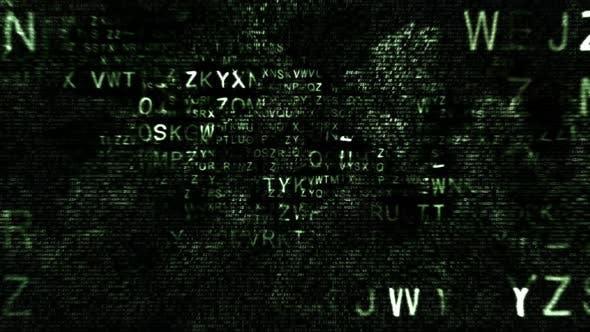 Thumbnail for Animierte grüne Großbuchstaben hexadezimale Code fragmente auf schwarzem Hintergrund