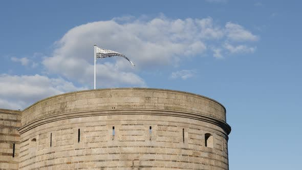 Thumbnail for Bretagne flag  in Nantes on the castle tower 4K 2160p 30fps UltraHD footage - Symbol of Brittany in