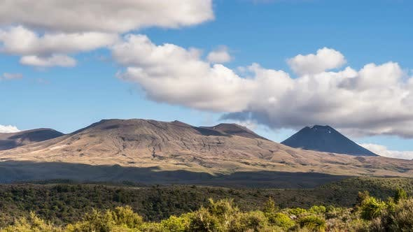 Thumbnail for Sunny Day With Clouds over Volcanic Mountains in Tongariro National Park in New Zealand Nature