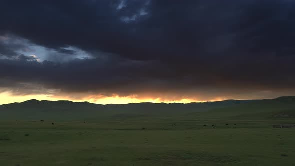 Red Sunrise Lights Through The Clouds At Morning in Central Asia Geography